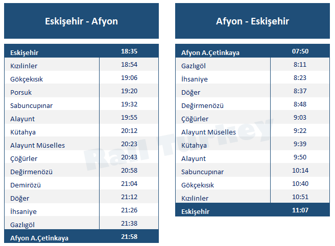 Eskisehir Afyon train timetable