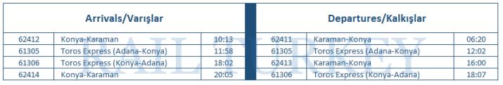 karaman tren saatleri