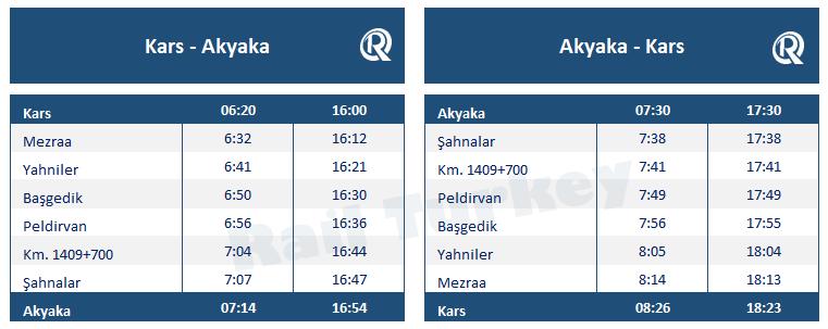 Kars Akyaka train timetable
