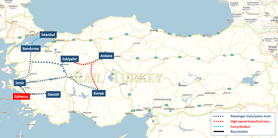 Travel to Ephesus by train