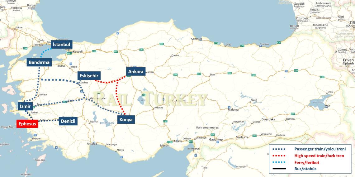 Efes'e trenle ulaşım