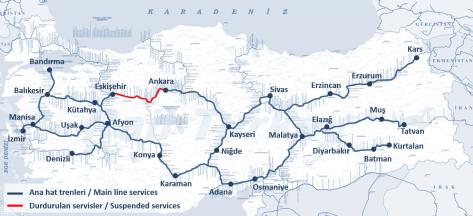 Türkiye ana hat trenleri - 2018