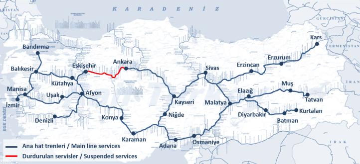 Main line services in Turkey - 2018