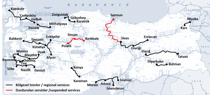 Regional trains in Turkey - 2018