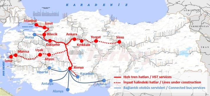 Turkish high speed rail network - 2018