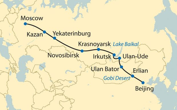 Trans Sibirya Ekspresi rotası