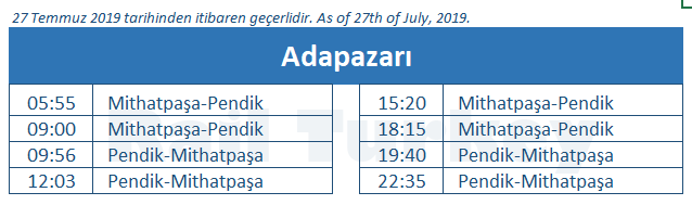 Adapazari train station timetable