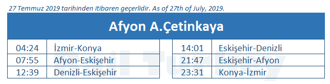 Afyon train station timetable