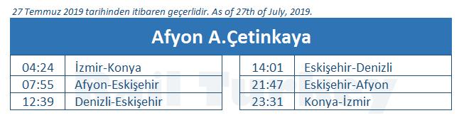 Afyon tren garı tren saatleri
