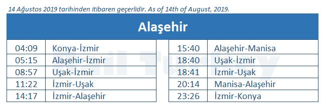 Alasehir train station timetable