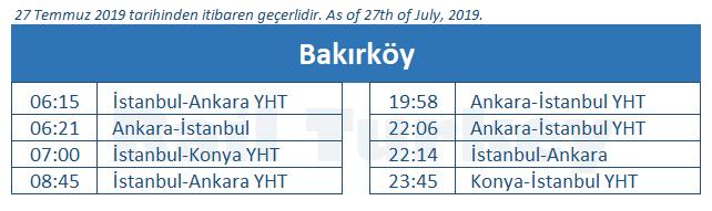 Bakirkoy train station timetable