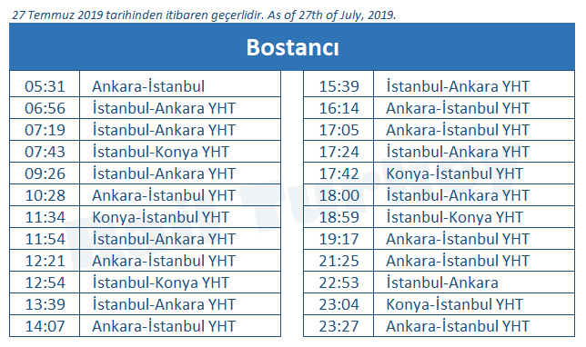 Bostanci train station timetable