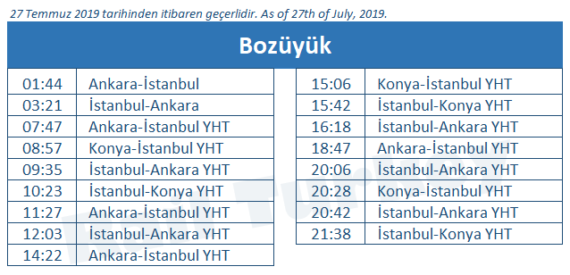 Bozuyuk high speed train station timetable