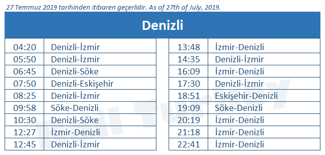 Denizli tren garı tren saatleri