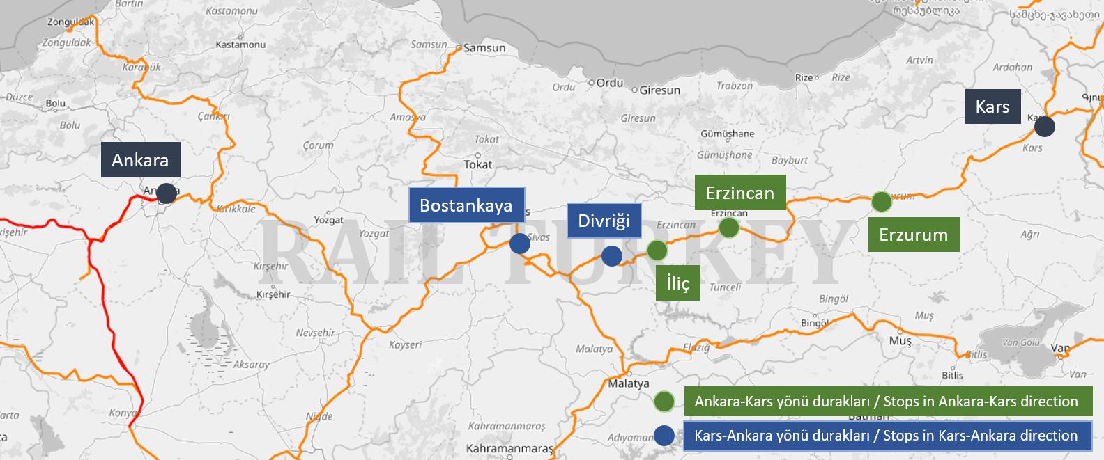 Touristic Dogu Express route