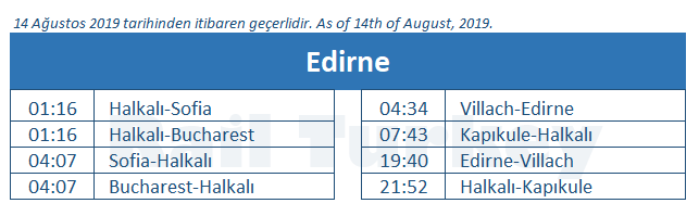Edirne train station timetable
