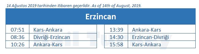 Erzincan tren garı tren saatleri