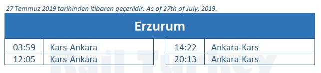 Erzurum train station timetable