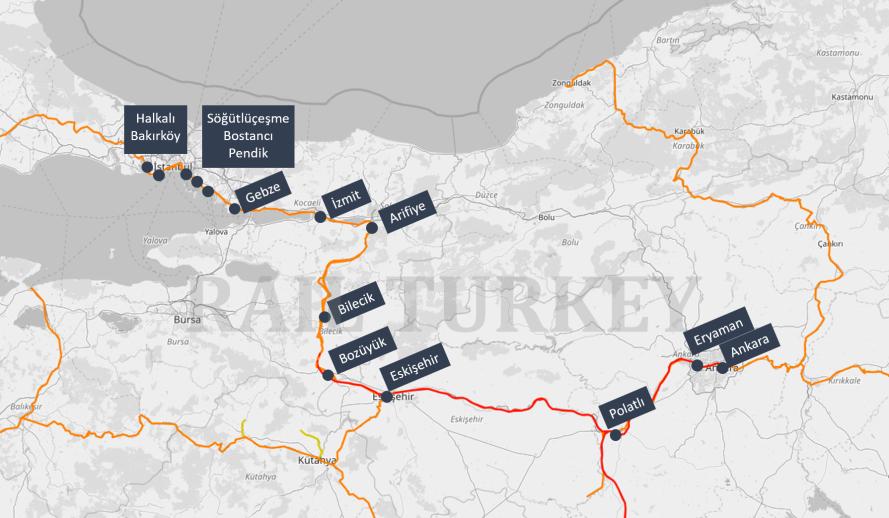 Istanbul Ankara HST route