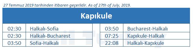 Kapikule train station timetable