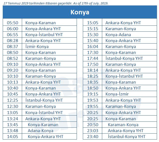 Konya train station timetable