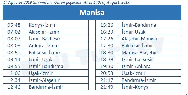 Manisa train station timetable