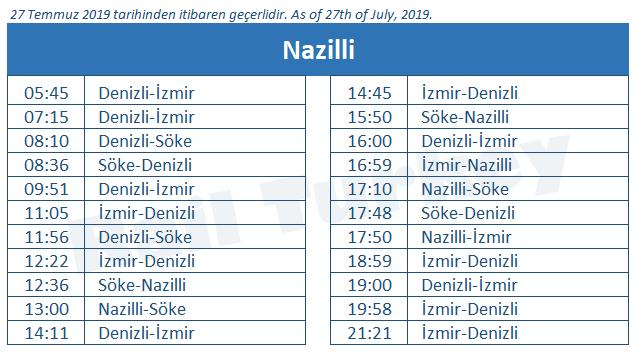 Nazilli tren garı tren saatleri