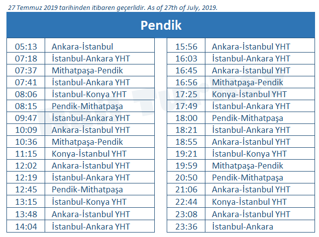 Pendik high speed train station timetable