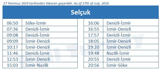 Selcuk train station timetable