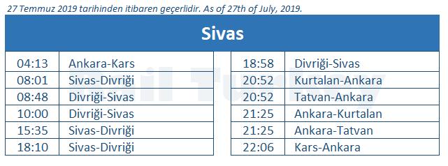 Sivas train station timetable