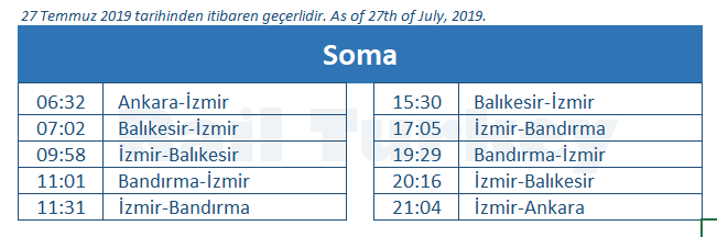 Soma train station timetable