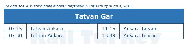 Tatvan train station timetable