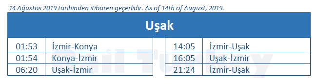 Usak train station timetable