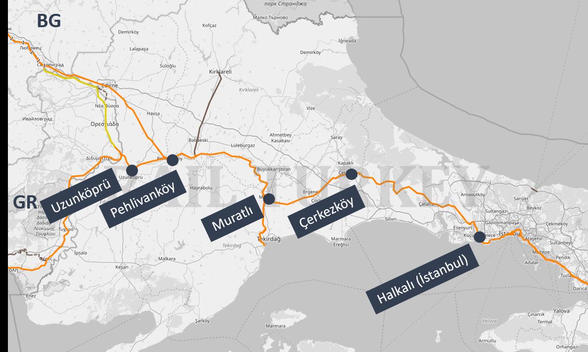 Halkali Uzunkopru train route