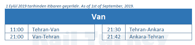 Van train station timetable