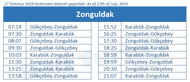 Zonguldak train station timetable