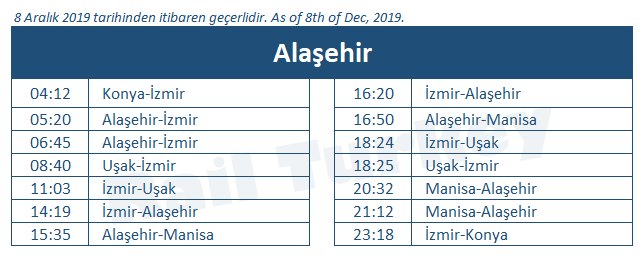 Alasehir train station timetable
