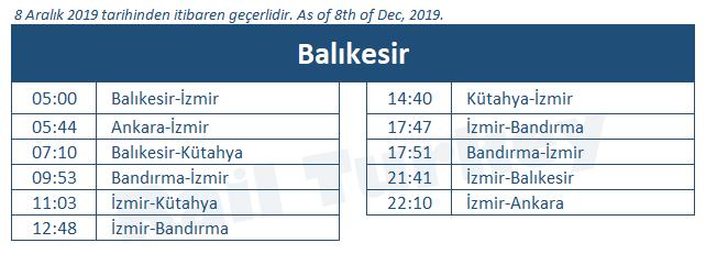 Balikesir train station timetable