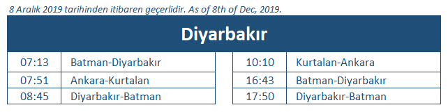Diyarbakir train station timetable