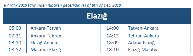 Elazig train station timetable