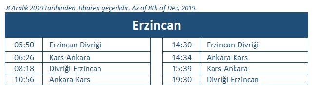 Erzincan train station timetable
