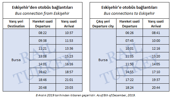 Eskisehir high speed train station connected buses timetable