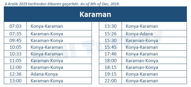 Karaman train station timetable