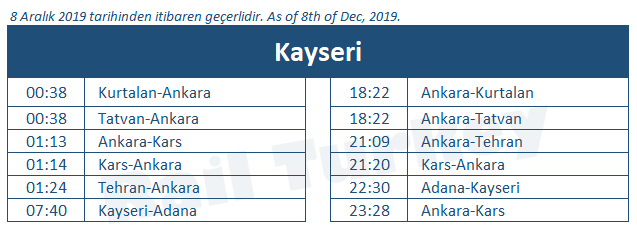 Kayseri train station timetable