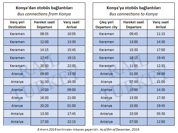 Konya train station connected buses timetable