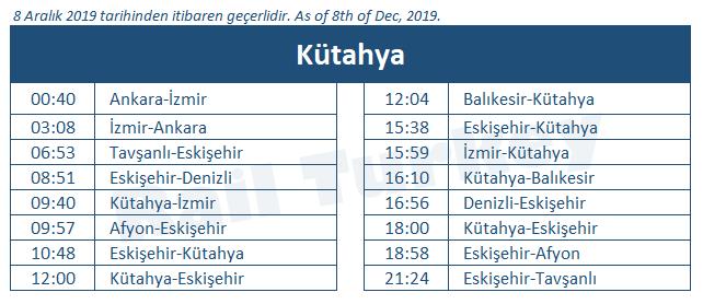 Kütahya tren garı tren saatleri
