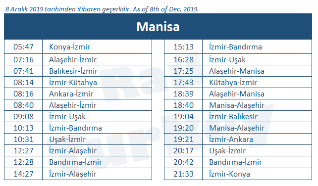 Manisa train station timetable