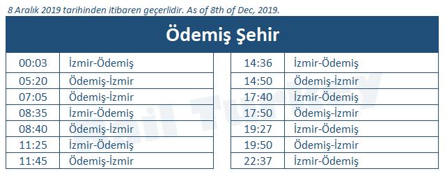 Ödemis train station timetable