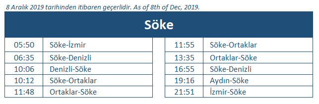 Soke train station timetable