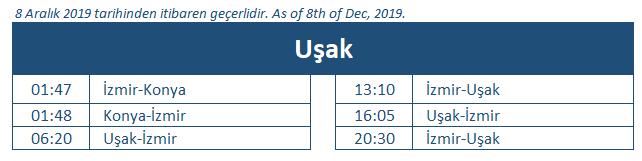 Usak train station timetable